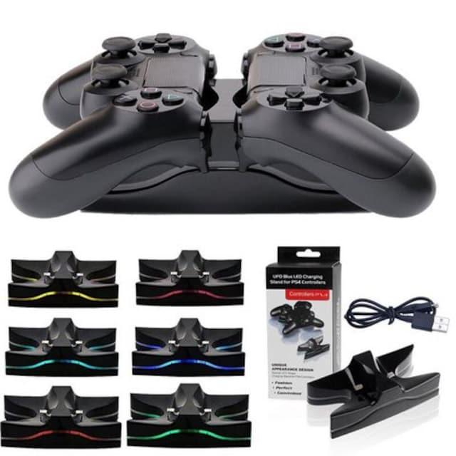 PS4 コントローラー7色LED充電スタンminiUSB  二台同時充電 < ゲーム本体/ソフトの