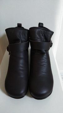モバペイ送料込ミスキョウコ24.5cmダークブラウン本革ブーツ新品