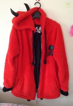 グラビル/GLAVILかわいい小悪魔耳付きコート・赤☆