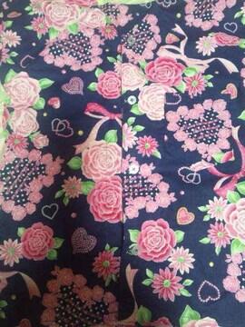 ☆新品紺×ガールズハート&リボンラメ入柄ダボシャツ110