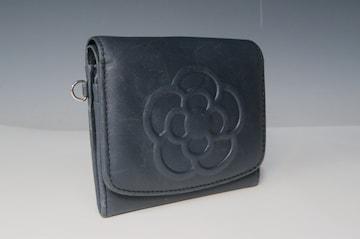 二つ折り財布 カメリア レディース チャコールグレー