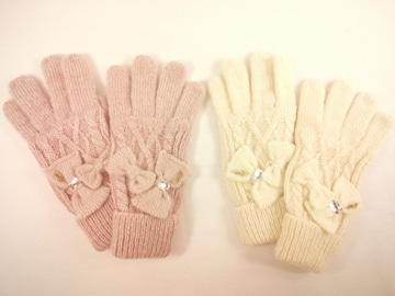 値下げセールメゾピアノJrリボンモチーフいっぱいケーブル編みラブリー手袋