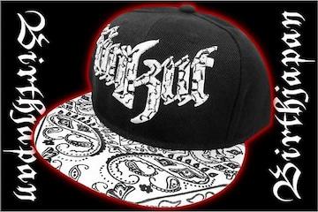 B系HIPHOP系ペイズリー刺繍キャップ/ヤンキーオラオラ系悪羅悪羅系帽子85黒1