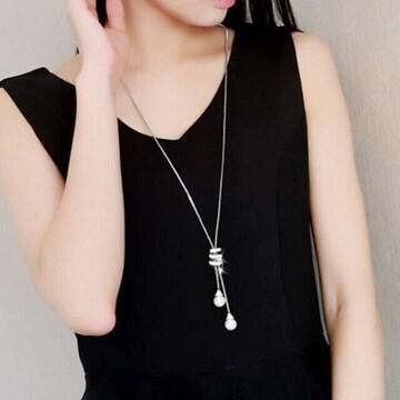 激アツ★高評価★高級感有りキラキラロングネックレス シルバー