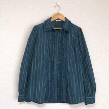 アクシーズLサイズ きれい色、フリル飾りストライプシャツ ブラウス axes femme♪