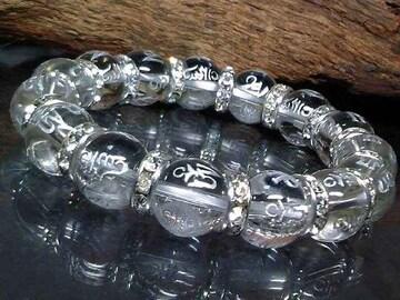 銀彫り六字真言梵字水晶12ミリ銀ロンデル数珠