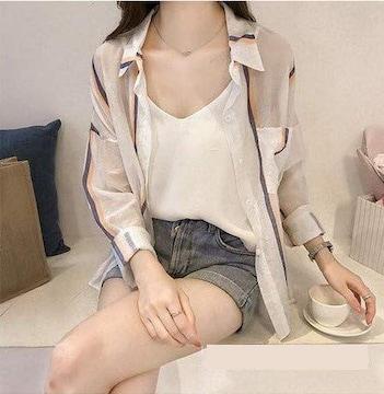 薄手ストライプ柄 襟付きブラウス(XL寸・オレンジ)
