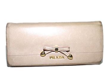 PRADA プラダ リボン付き二つ折り長財布 ピンクベージュ