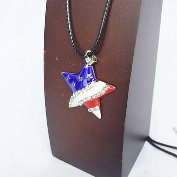 USA US スター 星 国旗 フラッグ 旗 ネックレス チョーカー 1130
