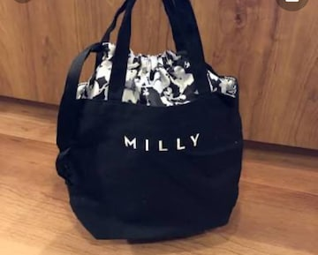 MILLY☆ミリー めちゃかわモノクロフラワー巾着バッグ 超特価