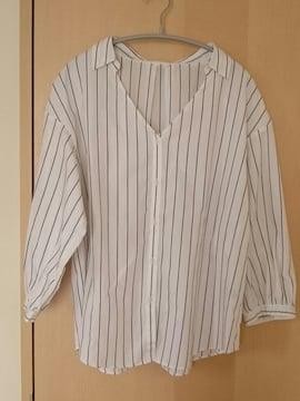 GU*七分袖*ストライプパフスリーブシャツ*ホワイト