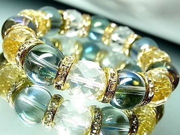 64面カット水晶§ブルーオーラ14ミリ銀ロンデル数珠