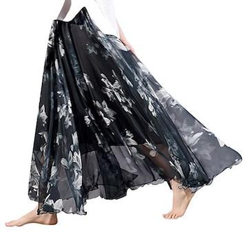 裾広幅★ヘムライン★花柄シフォン★ロングスカート(黒)