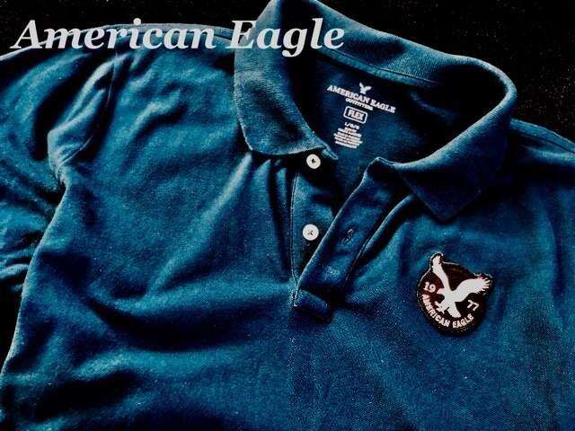 【アメリカンイーグル】ポロシャツ Slim Fit US-L/Blue < ブランドの