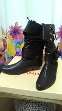 (ジ)CANDISH/キャンディッシュ・黒リボン ブーツ・S