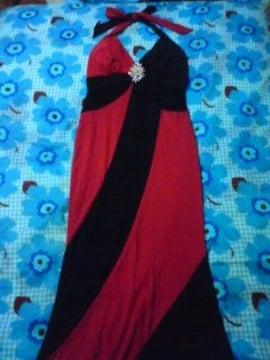 小悪魔ブラック×レッド キラキラ ビジュ タイト ホルター ロングドレス カナリ美品激安