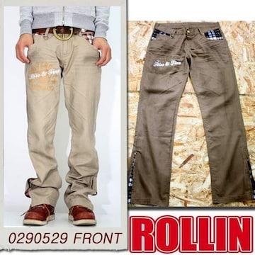 Rollin(ローリン)チェック切り替えチノパンツ/ブラウンM