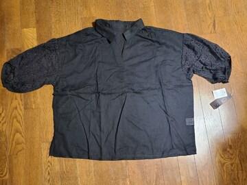 送料無料/大きいサイズ4L透け素材襟付Vネック腕レースシフォン半袖ブラウスタグ付