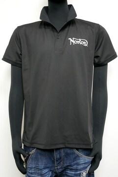 新品Norton202N1204接触冷感 鹿の子 ロゴポロシャツ黒L