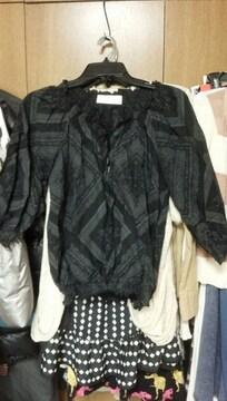 黒八分袖カットソー花柄ふんわり高級綿100%か春夏用S〜M