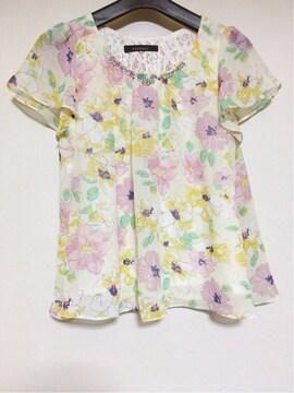 PAGEBOY 花柄 薄手 半袖 トップス  F クリスタル付き N2m