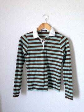 イーストボーイ■ ボーダー ロング ポロシャツ  Tシャツ