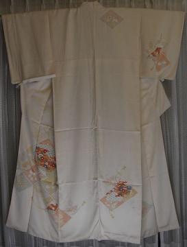 着物/正絹淡いピンク地の付け下げ日本の伝統美中古No3
