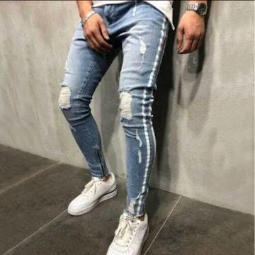 【XLサイズ 】ダメージデニム パンツ メンズ 大人気ライトブルー