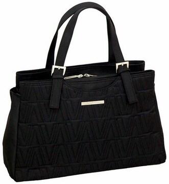 ◎高級感/良質フォーマル黒ハンドバッグ/収納充実ポケット7個