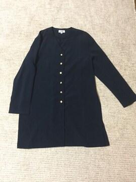 445.新品☆さらさらノーカラーロングジャケット羽織☆紺サイズM