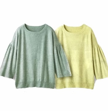 春カラーフレアスリーブニットイエロー&ミント2色(L)新品