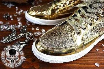 送料込 ラメ ハイカット スニーカー 靴 メンズ シューズ 厚底 オラオラ ダンス 107金26.0