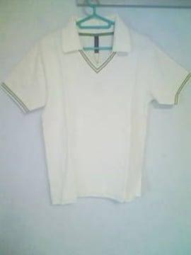 A-211★新品★半袖襟付きVネックシャツ ホワイト M