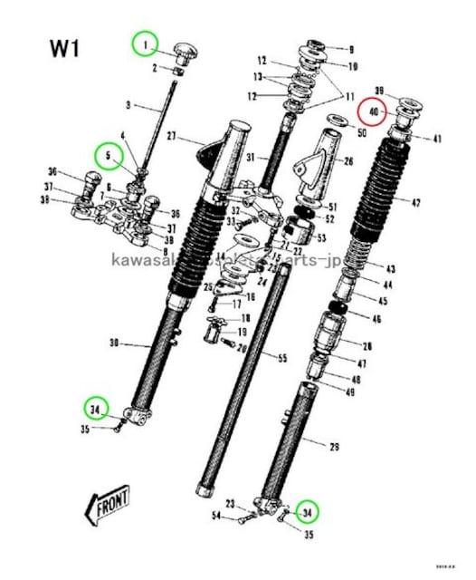 カワサキ メグロ K2 W1 フォークスプリング・ガイド 絶版新品 < 自動車/バイク