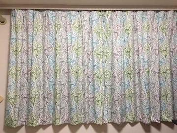 遮熱遮光1級オーダーカーテン北欧葉っぱ(130×154×2)