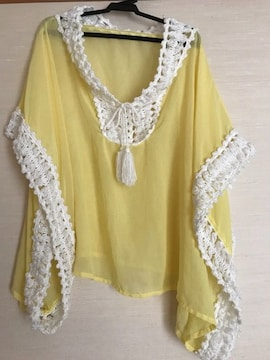 かぎ編み ポンチョ シースルー 150 黄