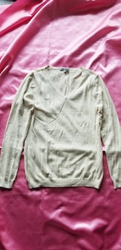 ★UNIQLO杢ベージュ薄手Vネック綿カシミア混Vネック長袖セーター