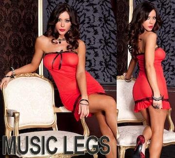 A043)LA発MUSICLEGSレーストリムベビードール&ショーツ2点セット赤黒B系ミニドレス