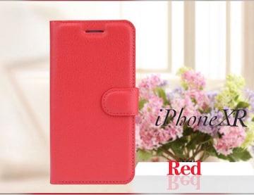 iPhoneXR 手帳型ケース レザー 液晶フィルム カード入れ レッド