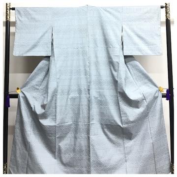 上質 正絹 お召し 水色 身丈153 裄63.5 袷仕立て 中古品
