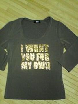 ★CAROLL★ラメロゴ7部袖Tシャツ★KH