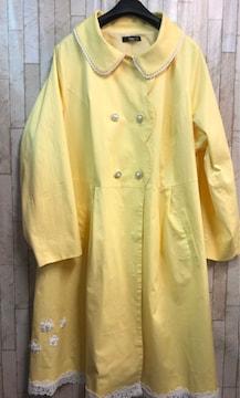 新品☆10L大きいサイズ黄色ラブリーなスプリングコート♪s936