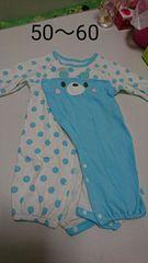 水色の水玉のくまさん長袖2wayオール