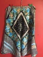 海外インポート古着スカーフ柄ブルー系花柄フラワースカート