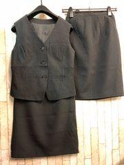 新品☆5号お仕事ベストスーツ同スカート2枚!黒ストライプ☆n283