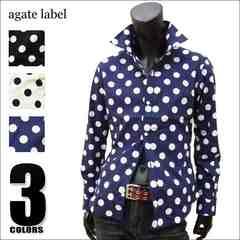 agate 国産ドット柄ドレスシャツ ネイビー M[124023]