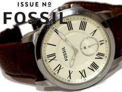 良品 1スタ★FOSSIL フォッシル【スモセコ】大型メンズ腕時計