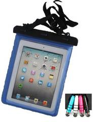 iPad.Nuxus7 青 両面シースルー 防水ケース.写真動画撮影ok ペン