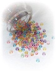 ¥50均一☆『丸小ビーズ』クリアカラー6色Mix[ガラス]5g♪2mm