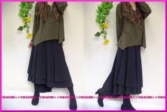 春新作◆大きいサイズ4Lブラック◆ウエストゴム◆裾イレヘムロングスカート